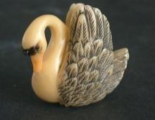 Vintage Japanese ivory colored netsuke -A Beautiful SWAN Bird