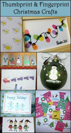 Christmas Thumbprint Crafts, Christmas Fingerprint Art