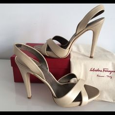 "SALVATORE FERRAGAMO HIGH HEEL DALILA METALLIC SALVATORE FERRAGAMO HIGH HEEL DALILA METALLIC SANDAL, SIZE 10, HIGHT HEEL 5"", PLATFORM 3/4"", ELASTICATED SLINGBACK STRAP, LEATHER INNERSOLES AND LINING. MADE IN ITALY, BRAND NEW WITH BOX AND DUST BAG Salvatore Ferragamo Shoes Heels"