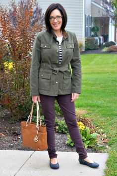 military jacket and plum jeans