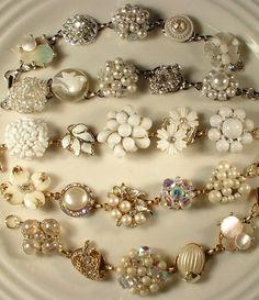 Vintage earring bracelet...great idea for all those earrings from nana's jewelry box