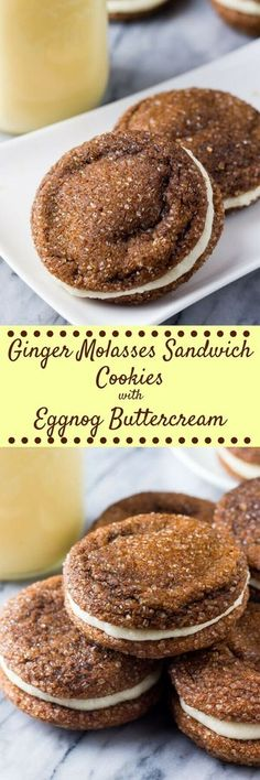 These ginger molasses sandwich cookies feature 2 soft and chewy ginger cookies sandwiched together with creamy eggnog buttercream. Perfect for your Holiday cookie exchange!