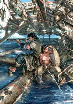 Waterworld-style art. - Does that crab have a cigarette? Why does that crab have a cigarette?