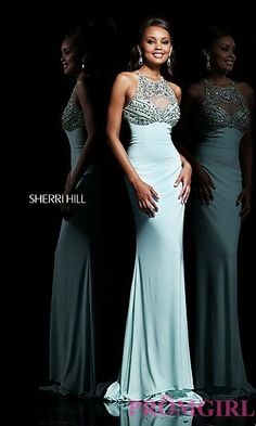 Long High Neck Open Back Formal Gown at PromGirl.com