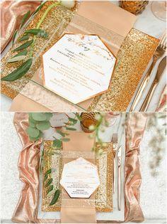 Geometric copper wedding menu via 4lovepolkadots / http://www.deerpearlflowers.com/modern-copper-marble-wedding-inspiration/