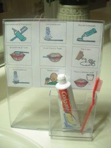 Repurposed sign/brochure holder with visual support for toothbrushing
