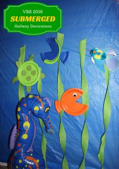 Submerged hallway decorations that are simple and easy to make that will not take much effort.