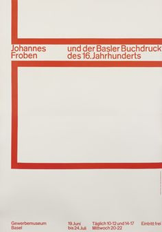 Emil Ruder, Johannes Froben Exhibition, 1960