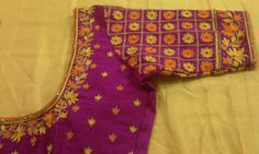 Raw silk blouse with elbow length hand with maggam work 7702919644 Best Blouse Designs, Simple Blouse Designs, Blouse Neck Designs, Kurta Designs, Bridal Sarees South Indian, Pink Saree Blouse, Kutch Work Designs, Mirror Work Blouse, Indian Wedding Fashion