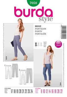 Misses Trousers Burda Sewing Pattern No. 7058. Size 8-22.