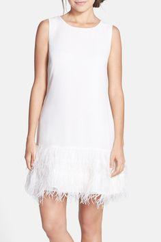 Phoebe Ostrich Feather Hem Chiffon Shift Dress