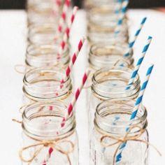 Mason jars & striped straws for the wedding party! Army Wedding, Our Wedding, Jam Jar Wedding, Military Weddings, Wedding Rustic, Wedding Stuff, Party Planning, Wedding Planning, Party Decoration