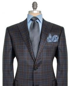 Image of Belvest Navy Blue and Grey Plaid Sportcoat
