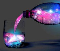 Glowing aurora jungle juice... I would just use the pink lemonade and the tonic water and not the achohol