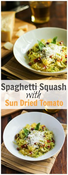 This spaghetti squash with sun dried tomato and basil is a flavourful gluten free and low carb recipe for your busy weekdays dinner. primaverakitchen.com