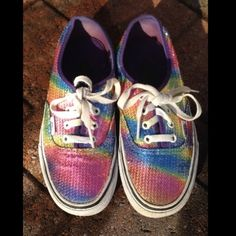 Authentic Vans sequins Sneakers Pre owned.  Multi colored. In good shape. Usual wear and tear for a used item. Woman's 6.5. Mens. 5 Vans Shoes Sneakers