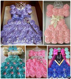 DIY Princess Pull Apart Cupcake Cake Decorating #Cupcake, #Bakery