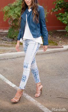Blue printed denim pairs perfectly with an indigo moto jacket!