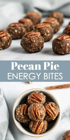 Love pecan pie These Pecan Pie Energy Bites are so simple and packed with pecans dates and goodness Happy snacking for all No bake and tastes like your favorite pie Fuel. Protein Snacks, Healthy Vegan Snacks, Healthy Recipes, Healthy Breakfasts, Eating Healthy, High Protein, Protein Energy, Nutritious Meals, Healthy Nutrition