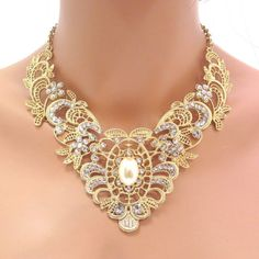 Gold lace necklace Bridal necklace Wedding by treasures570 on Etsy, $105.00
