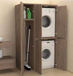 65 stylish laundry room design ideas to inspiring you 25 65 stylish laundry room design ideas to inspiring you 25 Modern Laundry Rooms, Laundry Room Layouts, Laundry Room Organization, Laundry In Bathroom, Laundry In Kitchen, Laundry Room With Storage, Small Laundry Closet, Hidden Laundry, Laundry Nook