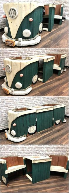 Give your garden a VW Campervan theme with this classic craft. Shaping these retired wood pallets to your favorite wagon speaks louder of your interests. The artistic skills are of great class and expertise. Its not an easy task to accomplish with taking all the measurements of the front of this wagon and then giving it the appropriate design with logo and wood pallet made headlights and indicators.