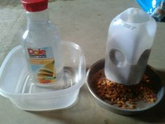 "Leaving cats for a wknd in garage. Auto waterer and feeder. Cut feeder jug at angle. Make small hole 1/2"" from bottom of water jug. Use hot glue to hold jugs in place. Leave lid on waterer but slightly loosened so water will come out slowly. Cats will paw to get more food to come down. Waterer is most important so test b4 leaving."