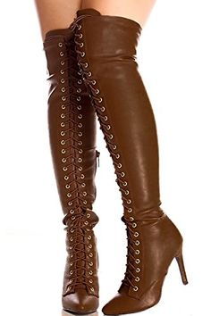 Oppo FAUX LEATHER FRONT LACE DESIGN SIDE ZIPPER OVER THE KNEE HIGH HEEL BOOTS 8 tan -- Find out more about the great product at the image link.