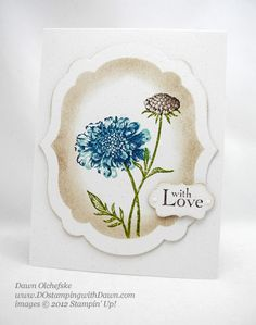 Dawn's Stamping Supplies    Stamps: Field Flowers (122760w or 122762c)   Ink: Crumb Cake, Early Espresso, Baja Breeze, Island Indigo, Old Olive  Paper: Naturals White (102316)  Tools: Big Shot (113439), Label Collection Framelits (125598), Decorative Label Punch (120907), Stampin' Sponges (101610)  Accessories: Basic Pearls (119247), Stampin' Dimensionals (104430)