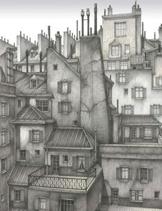 Paris rooftops pen and ink drawing City Drawing, Ink Pen Drawings, House Illustration, Urban Sketching, Pen Art, Architecture, Roof Tops, Watercolor Trees, Watercolor Portraits