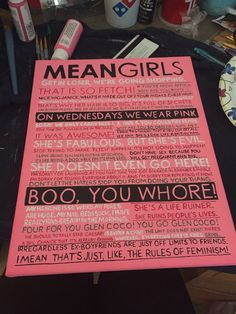 Mean Girls Canvas Mean Girls Party, Mean Girls Movie, 13th Birthday Parties, Birthday Party Themes, 21st Birthday, Mean Girls Burn Book, Mean Girl Quotes, Bday Girl, Girl Themes