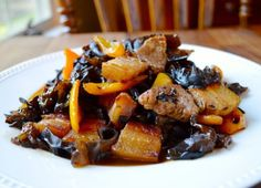 """PORK BELLY WITH BELL PEPPERS AND WOOD EAR MUSHROOMS - a """"cooking with Grandma"""" series recipe! - THE WOKS OF LIFE"""