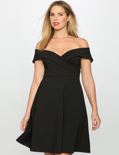 Off the Shoulder Wrap Waist Dress | Women's Plus Size Dresses | ELOQUII