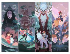 The current lineup of Ghibli paintings by Ann Marcellino - 21 March, 2019 ~. Studio Ghibli Art, Studio Ghibli Movies, Personajes Studio Ghibli, Chihiro Y Haku, Howl And Sophie, Estilo Anime, Image Manga, Fanarts Anime, Girls Anime