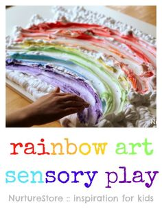 Such hands-on fun! Rainbow art shaving foam sensory play ideas.