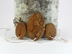 Spalted Hawthorne Wood Jewelry Set Earrings by MackeyArtistry