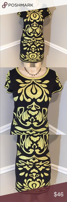 """INC Appliqué Dress Beautiful black dress with green embroidered appliqué design and trim. Short sleeve pull overdress. Very pretty! Good condition. Length measures 35"""". INC International Concepts Dresses"""