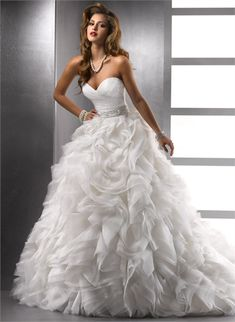 Ball Gown Sweetheart Beaded Ruffled Lace up Organza Wedding Dress $368.0000