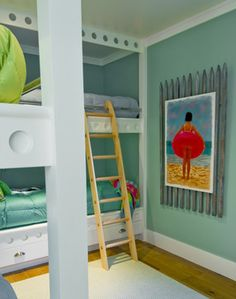 """Breakers Beach House beach style kids The bunkroom is painted Benjamin Moore's """"Wythe Blue""""..it was featured on House of Turquoise"""