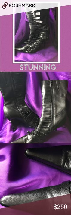 Bronx black leather pointy toe boots size 11 These are some stunning boots !! Bronx brand genuine calf quality leather pointy toe boots size 42 I wear 11 and they fit . Slight toe wear can be touched up . I always received tons of compliments when I wore them a few times they are bad to the bone ! You might be able to have them stretched to fit a size 12 foot . Wouldn't recommend a wide foot to purchase .slight bottom scuff , the heels are intact which have rhinestone accents . Swag boots…