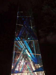 Tower of the glass It is lighted up Myorenji rock garden Grass Art October, 2001