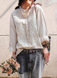 Blouses - $42.99 - Floral Casual Cotton Linen Round Neckline Long Sleeve Blouses (1645153194)