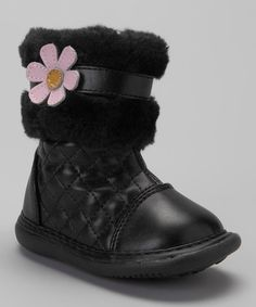 Black Quilted Pansy Squeaker Boot