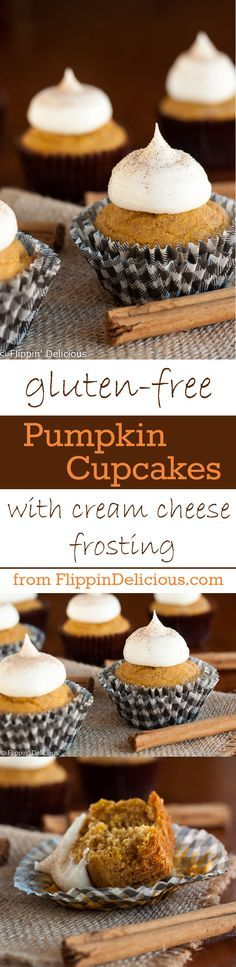 Moist gluten free pumpkin cupcakes with all the flavors of fall, topped with creamy tangy cream cheese frosting.