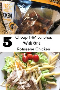 5 Cheap THM Lunches Using 1 Rotisserie Chicken to make staying on plan easy and affordable. Budget Friendly options to stick to your Trim Healthy Mama goals during the week. Great recipe ideas for the Drive Thru Sue that doesn't want to cook a protein for Thm Recipes, Healthy Recipes, Healthy Options, Family Recipes, Drink Recipes, Chicken Recipes, Recipies, Easy Dinner Recipes, Easy Meals