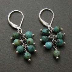 Sterling and african turquoise cluster earrings by J & I Jewelry.  American Made. See the artist's work at the 2014 Buyers Market of American Craft, Philadelphia, PA. January 18-21, 2014. americanmadeshow.com