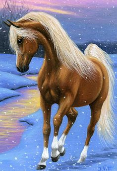 WINTER EVENING GLOW......a palomino dances among the snowflakes of glowing winter evening....PRINTED