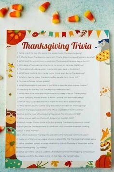 Free Printable Thanksgiving Trivia
