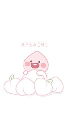 Cute Pastel Wallpaper, Kawaii Wallpaper, Iphone Wallpaper, Apeach Kakao, Kakao Friends, Peach Aesthetic, Line Friends, Cute Cartoon Wallpapers, Kawaii Cute