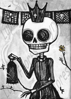 Dead priest  El Cura 5x7 Day of the Dead art by ArtByLupeFlores, $6.99